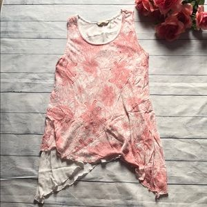 Soft Surroundings Floral Ruffle Tunic Tank